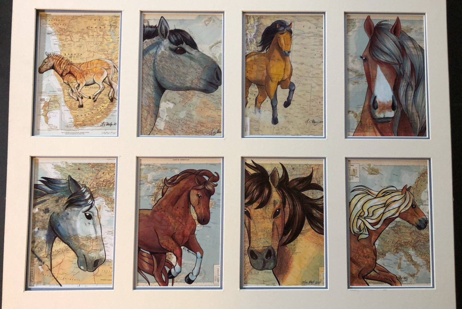 20x16 Matted Horse Collage Slightly Imperfect Double Mat Liz Staley Studios