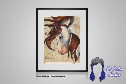 Portrait of a white Nokota horse with a brown mane blowing in the wind. The horse has its head down, neck arched. The background is a vintage map of the United States