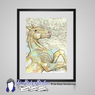 Framed image of a golden Akhal-teke horse rearing. The background is a map of Turkmenistan and surrounding area