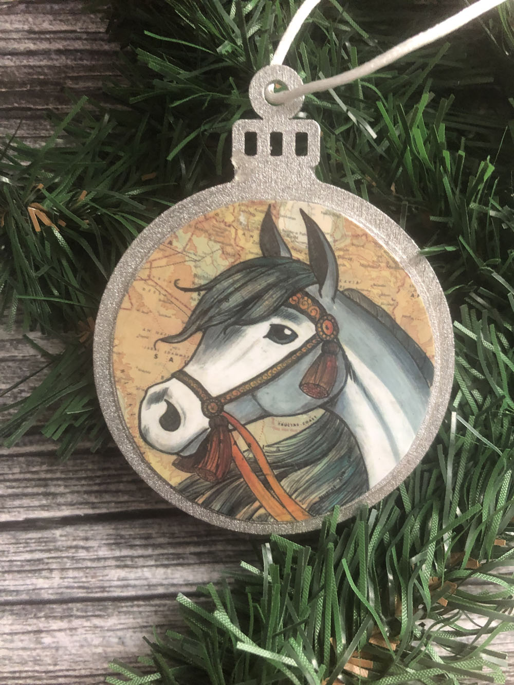 Arabian Horse Christmas Ornament Wood Tree Ornament With Jute Hanger Liz Staley Studios
