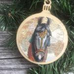 Black Marwari Horse Christmas Ornament Wood Tree Ornament with Jute Hanger