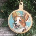 Welsh Corgi Dog Christmas Ornament Wood Tree Ornament with Jute Hanger