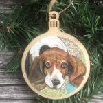 Basset Hound Dog Christmas Ornament Wood Tree Ornament with Jute Hanger