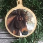 Misaki Horse Christmas Ornament Wood Tree Ornament with Jute Hanger