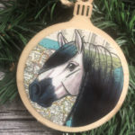 Andalusian Horse Christmas Ornament Wood Tree Ornament with Jute Hanger