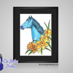 Aquamarine March Birthstone Daffodil - 8x10 matted to 11x14 Ready To Frame Horse Art Print