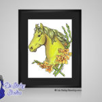 Peridot August Birthstone Gladiolus- 8x10 matted to 11x14 Ready To Frame Horse Art Print