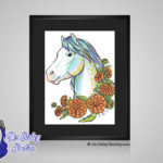 Opal October Birthstone Calendula - 8x10 matted to 11x14 Ready To Frame Horse Art Print