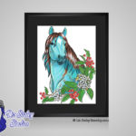 Turquoise December Birthstone Holly - 8x10 matted to 11x14 Ready To Frame Horse Art Print