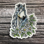 3 Inch Horse Vinyl Sticker - White Horse with White Daisies