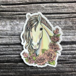 3 Inch Horse Vinyl Sticker - Pearl Horse with Pink Roses