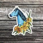 3 Inch Horse Vinyl Sticker - Aquamarine Horse with Yellow Daffodils