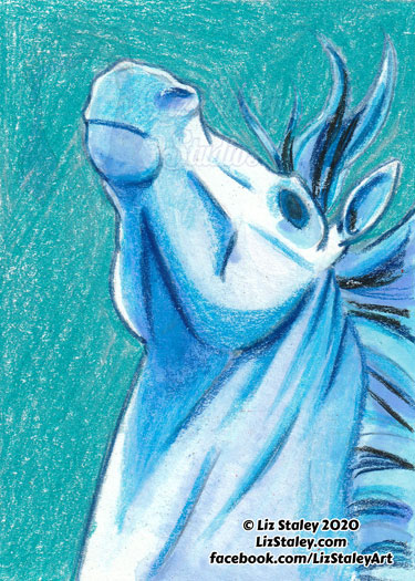 Drawing of a horse with head in the air. The background is a teal color, and the horse is done in shades of white and blue