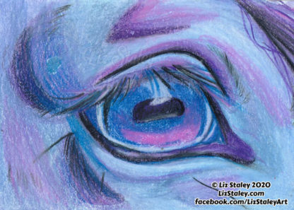 Close up detail image of a horse's eye, looking to the right, done in blue, purple, and pink colors