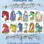 Birthstone Horses 12 Note Card Set with White Envelopes - Blank Equestrian Greeting Cards