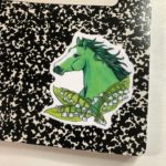 3 Inch Horse Vinyl Sticker - Green horse with White Lily of the Valley Flowers