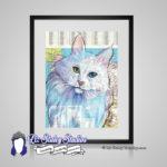 Angora Cat Print – 8×10 matted Cat Lover Art