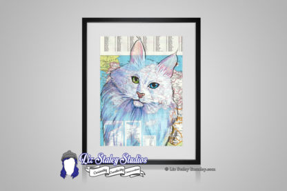 Angora cat illustration. The cat is white with one green and one blue eye. Background is a map of Turkey