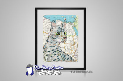 Egyptian Mau cat, gray and black striped with bright green eyes. The background of the illustration is a map of Egypt