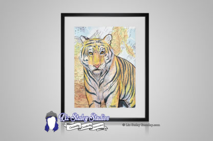 Siberian Tiger orange with black stripes and yellow eyes. Background of the illustration is a map of Siberia