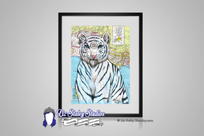 Illustration of a white tiger with blue eyes. The illustration background is a map of India
