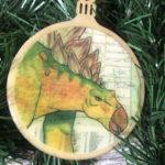 Stegosaurus Art Wooden Christmas Ornament