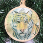 Siberian Tiger Wooden Christmas Ornament