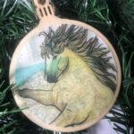 Konik Horse Wooden Christmas Ornament