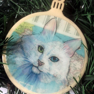Turkish Angora cat Christmas Ornament