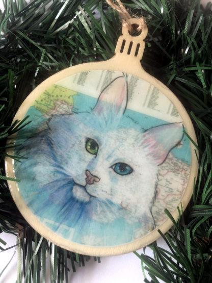 Turkish Angora cat Christmas Ornament