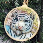 White Tiger Wooden Christmas Ornament